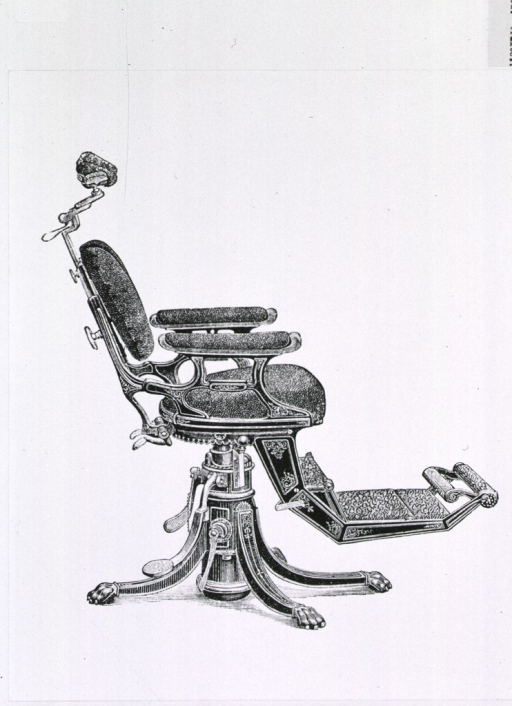 <p>Right profile view of a 19th century dental chair.</p>