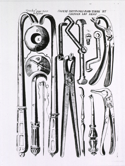 <p>Instruments for pulling and cutting teeth.</p>