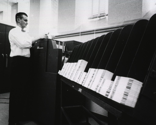 <p>Interior view of Bibliographic Services Division's IBM punch card sorter.</p>