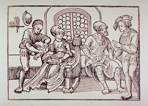 <p>Interior view of early medical clinic; a woman is being bled while a man to the right is receiving medication and instructions for use from a physician.</p>