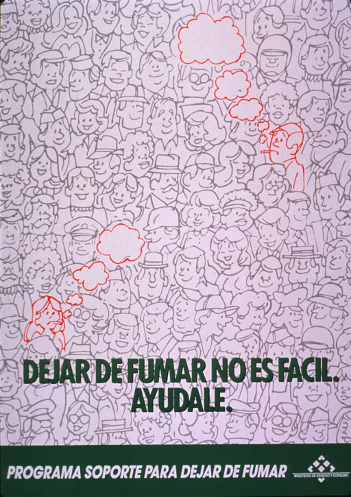 <p>Predominantly white poster with green and white lettering.  Visual image is an illustration of a crowd of people.  Most of the people are nonsmokers; two smokers appear in red, standing out in the crowd.  Title superimposed on illustration states that it is not easy to quit smoking and urges seeking or giving help.  Publisher information at bottom of poster.</p>