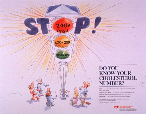 <p>Predominantly white poster with multicolor lettering.  Visual image is an illustration of a group of people clustered around a traffic signal.  Each light in the signal corresponds to a range of cholesterol numbers: green is desirable, yellow is borderline, and red is high.  Initial title word incorporated in illustration, with the red light of the signal representing the &quot;o.&quot;  Remaining title text, an explanation of cholesterol numbers, and suggestion to see a doctor to right of illustration.  Publisher information in lower right corner.</p>
