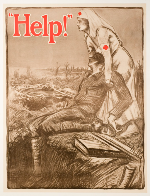 <p>Predominantly gray poster with red lettering. Visual image is an illustration of a Red Cross nurse helpng a wounded soldier on the battlefield during World War I. Title at top of poster. Artist signature near lower right-hand corner.</p>