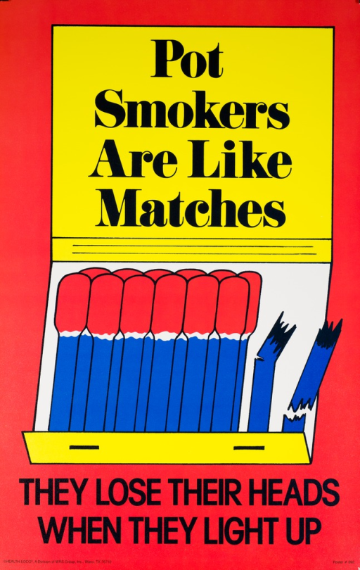 <p>Predominantly red and yellow poster with black lettering. Visual image is an illustration of an open matchbook. The two matches on the right are broken. Initial title phrase superimposed over the top of the matchbook. Remaining title phrase below matchbook. Publisher information in lower left corner.</p>