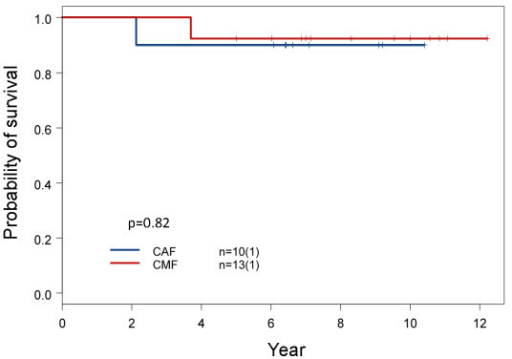 Comparison of overall survival between subtype I patients treated with CAF and CMF adjuvant chemotherapy. Clinical variables including age at diagnosis, TNM stages, positive lymph node number, nuclear grade, hormonal therapy and post-op radiation were compared between these two treatment groups. There were no significant differences (Additional file 1, Table S6). The results of this small sample size study are supported by a recent report on two large-scale clinical trials [32].