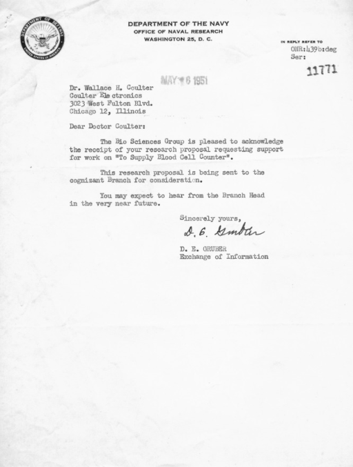 letter acknowledging receipt of proposal letter from the onr to wallace h coulter acknowledging 12956