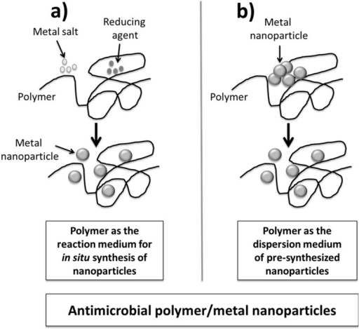 Two main routes producing antimicrobial polymer/metal nanocomposites: (a) Polymer as reaction mediun for in-situ synthesis of nanoparticles; and (b) Polymer as a dispersion mediun of pre-synthesized nanoparticles.