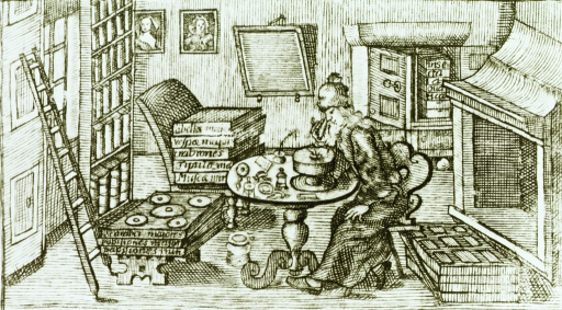 <p>Scientist is sitting at a table looking through a microscope; various instruments are on the table; specimens are stacked on another table, a chair, and in a cabinet against the back wall; bookshelves and a ladder are to the left.</p>