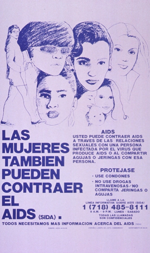 <p>White and pink poster with blue lettering.  Illustration of seven women and a baby, representing different age and ethnic groups, at top of poster.  Title below illustration on left side, caption below illustration on right side.  Note near bottom of poster.  Publisher information below note.</p>