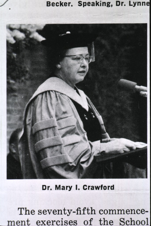 <p>Crawford giving a speech at a commencement ceremony.</p>
