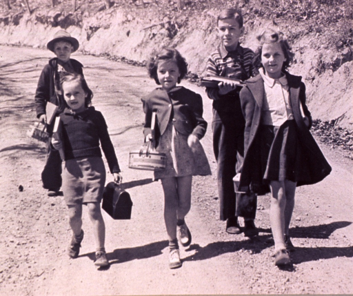 <p>Boys and girls, carrying books and lunch boxes, walking along a dirt road.</p>