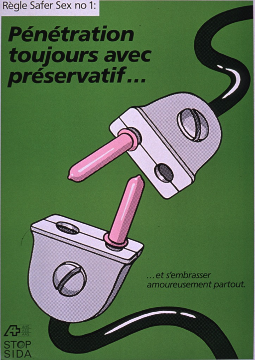 <p>The poster is green with two wires coming together, both with a single prong, wearing a condom. The Stop AIDS logo is at the bottom of the poster.</p>