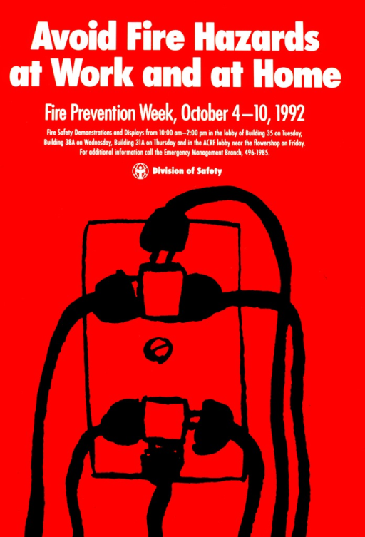 <p>An electrical outlet with two connections has been added to so that six plugs and cords lead away from it.  Places and times for fire safety demonstrations and displays are listed.</p>