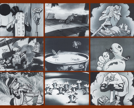 <p>9 frames from the animated Navy educational motion picture Personal cleanliness of Commandments for health series, showing Private McGillicuddy attacked by germs for not taking a bath.</p>