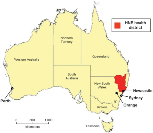 Map Of The Hunter New England Hne Health District And Australia Hne Health