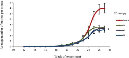 Effects of SD treatment on tumor multiplicity in SKH-1 mice. SD pretreatment significantly (P <0.05) decreased tumor multiplicity in all groups by the end of the experiment. Each point represents mean number of tumors per mice ± SEM derived from 20 mice in each group. * Significantly different.