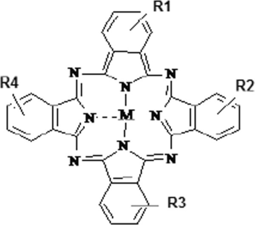 The structure of metallo-sulphonated phthalocyanines (M = metal; R = SO3-/H).