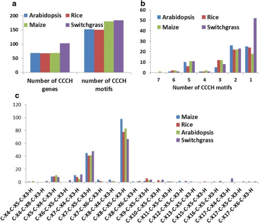 Characterization of CCCH proteins in switchgrass, maize, rice and Arabidopsis. (a) Number of CCCH proteins and Zf-CCCH motifs in the four plant species. (b) Number of CCCH motifs per protein. (c) Number of each type of Zf-CCCH motifs in the four plant species.