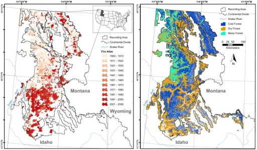 The U.S. Northern Rockies study area in Idaho and portions of Montana, west of the Continental Divide.Area burned, stratified by decade (left), and the three dominant forest types across the study area (right).