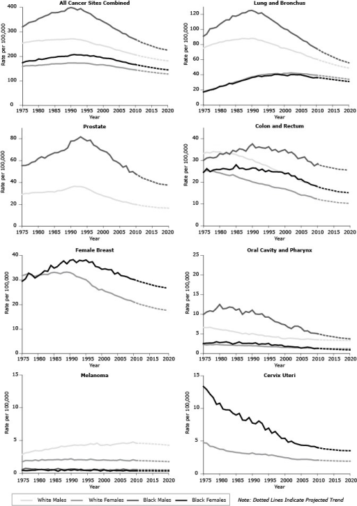 Trends in observed and predicted age-adjusted death rates for all sites combined and for the 7 site-specific cancers included in the Healthy People 2020 cancer mortality objectives by sex and race, 1975–2020.YearWhite MaleWhite FemaleBlack MaleBlack FemaleAll Cancer Sites Combined1975254.00158.99320.45174.181976257.50161.69328.45179.101977258.78161.61337.95181.601978261.64162.54340.91181.531979263.24161.69344.67182.731980265.02164.17353.91189.241981263.26164.55358.65187.471982266.28166.11364.86190.171983267.22166.69369.32193.241984267.55169.02377.93195.671985268.24169.58377.82196.311986268.83170.01378.92199.051987268.96169.87383.24199.911988269.46170.94384.17200.361989270.25172.88395.28200.871990271.48172.89399.14205.381991271.19173.41395.85207.391992268.91172.58389.20205.801993267.89172.82394.76206.291994264.73172.62385.20204.061995261.46171.73379.02204.531996256.83169.85373.70200.941997251.58167.35363.18202.531998247.62165.38353.13198.381999247.14165.92349.23197.542000243.31165.94341.48193.262001240.03163.52334.93192.182002237.25162.14327.14191.512003231.79159.81316.59188.812004226.30156.68309.94183.642005224.75155.18303.63181.132006219.98153.59293.91177.572007216.61150.84291.00175.782008213.29148.23280.09170.952009209.78146.46274.73168.172010206.52144.69268.96166.512011203.12142.66262.53163.832012199.72140.63256.09161.142013197.16138.94251.54158.882014194.59137.24246.99156.632015192.02135.54242.45154.372017186.88132.15233.35149.852018185.20130.87230.68148.282019183.53129.58228.00146.712020181.85128.30225.33145.15Cervix Uteri1975—4.75—13.351976—4.68—12.861977—4.22—12.191978—4.15—11.641979—3.95—10.611980—3.77—10.781981—3.74—9.891982—3.51—9.771983—3.43—9.761984—3.36—9.271985—3.27—8.981986—3.22—9.231987—3.13—8.221988—3.10—8.151989—3.05—8.601990—3.19—7.771991—3.01—7.651992—3.01—8.071993—2.95—7.691994—3.00—6.711995—2.82—6.981996—2.87—6.201997—2.76—6.471998—2.65—5.911999—2.57—5.412000—2.47—5.432001—2.43—4.832002—2.28—4.982003—2.23—4.662004—2.18—4.522005—2.21—4.382006—2.21—4.342007—2.20—4.332008—2.17—4.192009—2.07—4.192010—2.09—4.012011—2.06—3.912012—2.03—3.822013—2.01—3.772014—2.00—3.722015—1.98—3.672016—1.96—3.622017—1.95—3.572018—1.94—3.552019—1.94—3.542020—1.93—3.53Colon and Rectum197533.2425.0630.0924.55197633.7625.4531.1626.26197733.4924.9731.4424.93197834.1225.1731.2025.66197933.9224.5731.5725.96198033.9924.3233.1825.89198133.1623.8532.8326.32198233.1123.4233.7126.12198333.3223.1132.9025.82198433.1223.4934.6526.22198532.7422.7734.1028.04198632.0122.0735.3626.35198731.8521.6335.1026.48198831.0421.1634.2925.88198930.5220.8236.3726.07199030.4320.1837.6426.59199129.3519.8535.8026.50199228.9919.4236.2325.43199328.1819.2835.8426.04199427.8918.8435.6624.88199527.1618.6436.3025.47199626.2917.9834.5224.86199725.6817.5935.0724.80199825.1317.4833.9024.78199924.9917.2034.5024.70200024.4517.0135.0123.89200123.8016.4833.4724.25200223.3416.0633.8622.95200322.5715.5132.7122.91200421.2314.7230.8721.41200520.5614.1331.2121.42200620.0214.1231.6520.29200719.6413.7329.7619.88200818.9813.3629.2818.97200918.5912.6827.5718.59201018.0012.5328.4818.33201117.4912.1728.0317.84201216.9911.8227.5717.36201316.6711.6027.2617.03201416.3611.3726.9516.70201516.0511.1526.6416.38201615.7410.9326.3216.05201715.4310.7126.0115.73201815.3110.6025.8915.57201915.1810.5025.7715.42202015.0610.4025.6515.27Female Breast1975—31.79—29.491976—32.17—30.471977—32.67—32.801978—31.90—32.141979—31.48—30.821980—31.93—31.681981—32.12—32.551982—32.31—33.751983—32.20—33.531984—32.90—35.941985—33.11—34.851986—32.93—35.441987—32.57—36.731988—33.09—37.781989—33.23—36.611990—33.02—38.001991—32.45—38.281992—31.43—37.091993—31.09—38.041994—30.56—37.741995—30.09—38.181996—29.05—37.131997—27.62—37.431998—27.01—35.531999—25.98—35.212000—26.17—34.382001—25.40—34.562002—24.97—34.202003—24.58—34.192004—23.85—32.422005—23.39—32.992006—22.92—31.802007—22.28—31.582008—21.85—31.222009—21.65—30.492010—21.01—30.222011—20.55—29.772012—20.08—29.312013—19.74—28.962014—19.40—28.602015—19.06—28.252016—18.72—27.892017—18.38—27.542018—18.16—27.302019—17.94—27.062020—17.73—26.82Lung and Bronchus197575.4717.6791.0117.34197677.5519.1093.9618.51197779.0920.09100.8019.91197880.7621.58101.6520.66197981.6422.42102.8922.24198083.2724.22106.6724.58198183.5225.10109.7125.10198285.1826.72112.5526.30198385.4028.28112.7628.73198486.2429.27117.9827.98198586.6930.81117.5029.64198687.0331.76119.1831.00198788.0933.04121.7732.48198887.8634.57122.1533.54198987.5736.27124.7234.87199088.4037.31125.1736.48199187.7638.12123.5837.16199285.9839.21121.0638.55199385.5239.97121.9837.72199483.7840.30118.6338.61199582.6240.97116.0838.84199681.1541.22113.1839.08199779.8341.52110.2140.53199878.4741.69107.4040.67199975.6740.86103.6140.00200075.4142.08100.9639.66200174.3342.0299.5838.81200272.8842.5996.0440.22200371.3442.2293.5940.25200469.8141.8991.2539.95200569.2241.5988.0440.15200667.2341.2485.0939.09200764.9741.1583.5838.16200863.7540.2379.6436.93200961.7739.8477.2235.99201060.8139.4474.8736.52201159.3138.9972.3136.02201257.8138.5469.7535.52201356.5738.0067.7934.95201455.3437.4665.8334.38201554.1136.9163.8733.81201652.8836.3761.9233.24201751.6535.8359.9632.67201850.7535.2858.6232.16201949.8634.7357.2931.65202048.9634.1855.9531.13Melanoma19752.881.740.560.4419763.101.940.740.3919773.171.930.690.4119783.321.900.610.4619793.462.020.640.4719803.411.900.550.5619813.452.070.560.5719823.641.990.560.4919833.632.040.630.4019843.792.030.450.5419853.822.060.580.4919863.922.090.700.3119874.132.020.570.5419884.072.130.530.4019894.152.100.570.5319904.212.200.650.4519914.312.020.650.5419924.272.060.570.4419934.312.060.420.5919944.262.030.440.4319954.352.020.510.4219964.502.140.510.3819974.412.050.490.5819984.591.980.450.5419994.271.980.520.3320004.282.030.600.5020014.381.990.350.4520024.251.960.500.3220034.391.970.440.4520044.481.940.570.3920054.542.060.490.4120064.631.970.630.3520074.531.920.540.4520084.611.890.460.3520094.772.050.550.3620104.581.940.510.3720114.571.920.510.3720124.561.910.500.3620134.531.890.500.3620144.501.880.500.3520154.471.860.490.3520164.441.850.490.3520174.411.830.490.3420184.371.810.480.3420194.321.790.480.3420204.271.780.480.34Oral Cavity and Pharynx19756.642.299.932.5219766.552.1710.552.6219776.672.2510.872.6519786.412.2110.692.6819796.252.3211.472.9719806.122.2212.482.7619815.962.1711.362.8419825.962.1311.462.9419835.732.1011.832.7619845.642.1211.702.3819855.442.0511.032.6219865.272.0711.352.9319875.012.009.952.5419885.141.9810.672.5519894.842.0010.442.5919905.071.9611.052.5219914.871.9510.062.7019924.661.899.972.3119934.681.8310.092.4419944.411.779.262.3919954.421.759.282.5419964.241.718.692.0719974.171.708.102.1919984.201.687.912.0919993.801.547.492.1220003.721.557.311.7620013.871.526.691.8120023.871.506.331.7320033.801.456.951.6520043.721.466.951.6320053.601.436.541.3820063.611.375.701.5020073.711.395.761.6020083.621.375.211.4720093.541.315.151.2320103.511.325.041.2920113.471.284.841.2420123.441.274.641.1920133.421.254.501.1520143.401.244.361.1120153.381.234.231.0720163.361.214.091.0320173.351.213.951.0020183.341.203.870.9720193.331.193.800.9420203.331.283.720.91Prostate197529.06—55.52—197629.93—55.60—197729.90—56.44—197830.62—58.49—197930.77—59.24—198030.77—61.99—198130.76—63.61—198231.09—62.36198331.57—64.55—198431.58—65.93—198531.28—67.26—198632.46—67.39—198732.57—68.88—198833.38—69.57—198934.54—71.71—199035.67—77.98—199136.50—78.24—199236.29—79.84—199336.26—81.86—199435.64—79.96—199534.41—78.20—199633.00—78.84—199731.35—74.30—199829.89—72.77—199928.91—70.13—200027.75—68.93—200126.87—67.86—200226.20—65.04—200324.85—60.48—200423.86—59.20—200523.15—57.29—200622.17—54.01—200722.05—55.27—200821.17—49.49—200920.22—50.00—201019.86—47.69—201119.24—45.89—201218.62—44.09—201318.27—43.02—201417.92—41.95—201517.57—40.88—201617.22—39.81—201716.86—38.74—201816.74—38.35—201916.61—37.95—202016.49—37.55—Abbreviation: —, not applicable.