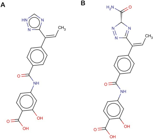 Chemical structures.(A) C_773 (B) C_997.