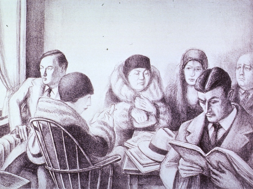<p>Interior view of a physician's waiting room: a group of people, some reading, some looking out a window, and others are just sitting there with blank expressions.</p>