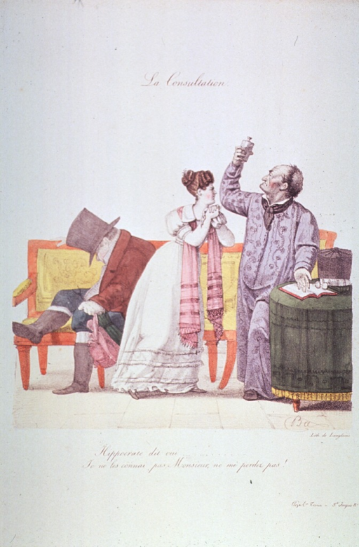 <p>A man wearing top hat, coat and boots is asleep sitting-up on a sofa; a woman, standing center, wringing her handkerchief, is appealing to the physician, who stands to the right holding up a jar for urine analysis, he gestures to an open book on a table.</p>