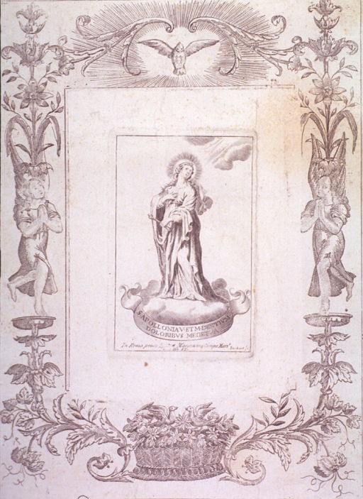 <p>Full length, standing on a cloud; rectangular plate within floral border.</p>