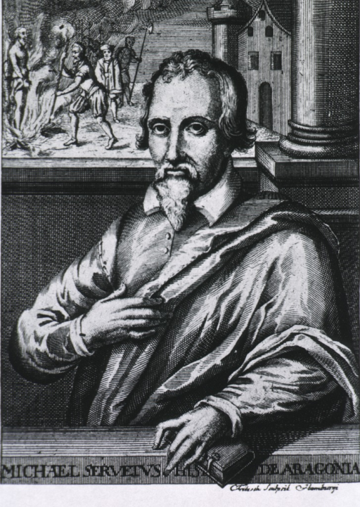 <p>Half-length, left pose, full face; left hand resting on a book; through a window in the background is a scene showing Servetus being burned at the stake.</p>