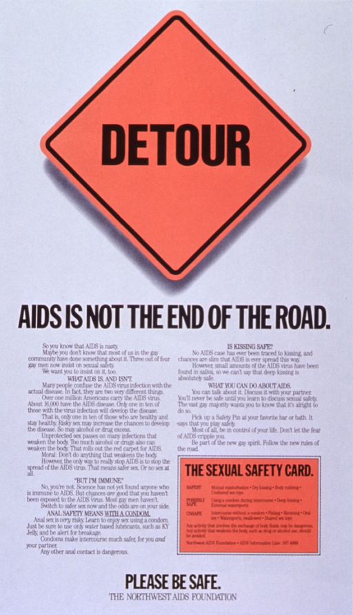 <p>White poster with black lettering.  Initial title word superimposed on orange diamond-shaped road sign.  Remaining title text below sign.  Poster dominated by text explaining AIDS, that no one is immune, the risks involved with anal sex, and encouraging people to speak frankly about the disease.  A &quot;sexual safety card&quot; near the lower right corner ranks sexual activities in order of risk.  Note and publisher information at bottom of poster.</p>