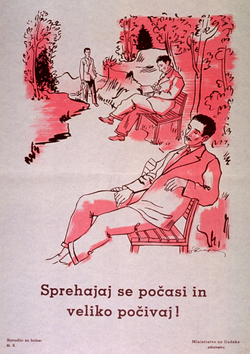 <p>Off-white poster with brown lettering.  Visual image is an illustration of two men sitting on park benches and a third man strolling on a path.  Title below illustration appears to urge walking slowly and resting frequently.  Series statement in lower left corner.  Publisher information in lower right corner.</p>