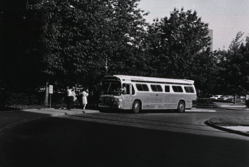 <p>Showing D.C. Transit Bus at a stop near the front of the Clinical Center.</p>