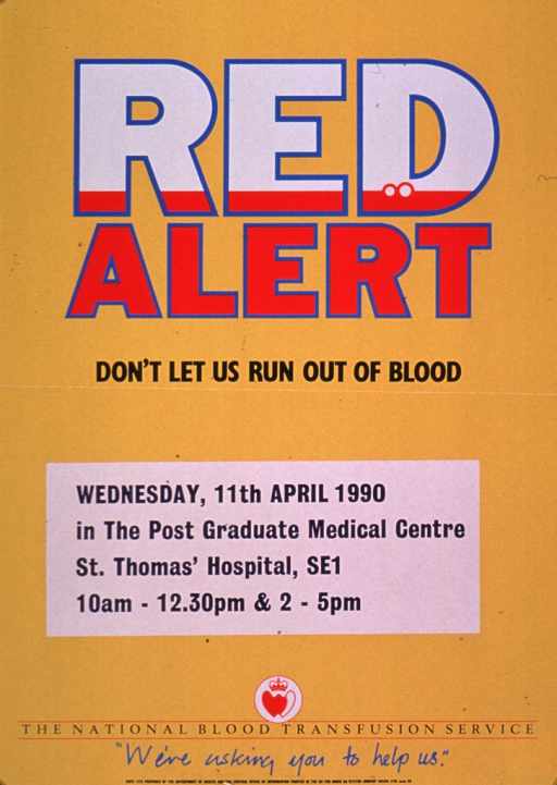 <p>Predominantly bright yellow poster with multicolor lettering.  Title in upper portion of poster.  The letters in the title word &quot;red&quot; are mostly white, with a thin stripe of red at the bottom.  A couple of bubbles appear in the &quot;d.&quot;  A sticker announcing a blood drive in Apr. 1990 has been affixed below the title.  Note and publisher information at bottom of poster.</p>