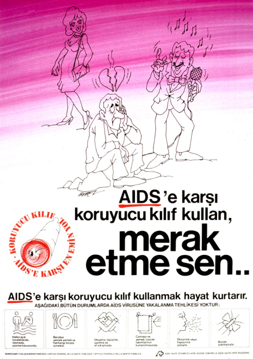 <p>Purple and white poster with black and red lettering.  Upper portion of poster features illustrations of three people: a woman, a man singing into a microphone, and a man sitting on a rock looking sad.  Title below illustrations appears to suggest that using a condom leaves one with no fear of AIDS.  Additional text and illustrations near the bottom of poster show common activities that do not transmit AIDS, such as swimming or eating together.  Publisher information at bottom of poster.</p>