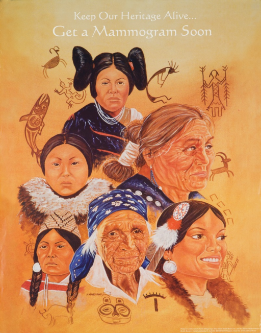 <p>Poster shows the faces of six Native American Indian women of varying ages from different tribes. Drawings of fish, deer, turtles, etc., are scattered around the grouping of the women's faces.</p>