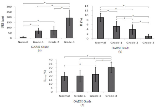 The results of the statistical analysis of URI, R of the cartilage surface, and Rbone of the cartilage-bone surface of the OA cartilage samples with different grades in comparison with normal cartilage samples. * denotes significant difference at p < 0.05.