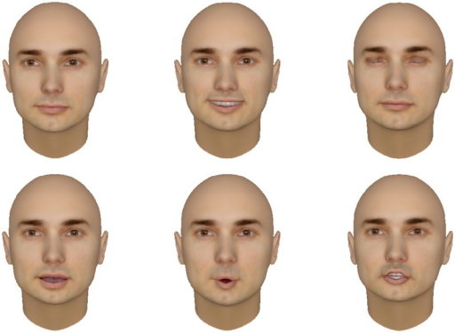 "The human-like face created by Facegen and how the 3D face looks with difference expressions and modifiers.Top row: normal face, smile, blink. Bottom row: speak ""Ah"", speak ""Oh"", speak ""J""."
