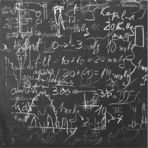 A blackboard in Prof. Bulat's study after many hours of discussion about the dynamics of cerebrospinal fluid and other intracranial fluids.