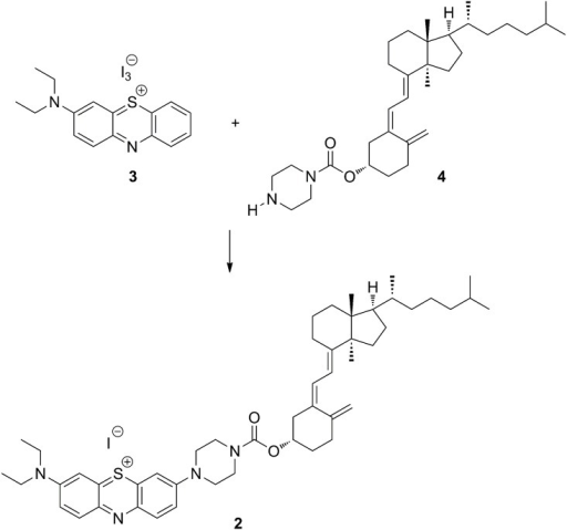 Synthetic route for the preparation of fluorescently labeled vitamin D3.The carbodiimidazole (CDI) coupling of vitamin D3 and the fluorescent dye linker.