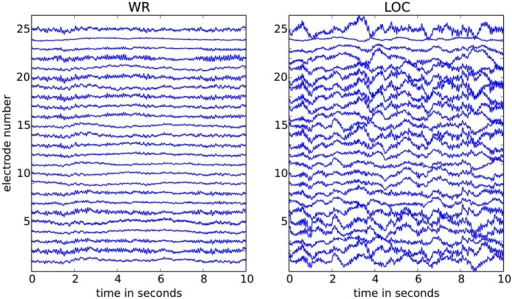 Two 10sec EEG segments from 25 channels.The segment in the left panel is during wakeful rest (WR) and the segment in the right panel is during propofol-induced loss of consciousness (LOC); both segments are shown after pre-processing. The voltage scale is the same for both conditions and the maximal fluctuation shown is approximately 0.1mV (for more data details, see [16, 38]). The recordings for LOC display visibly stronger slow waves (low-frequency components) as compared to those for WR.