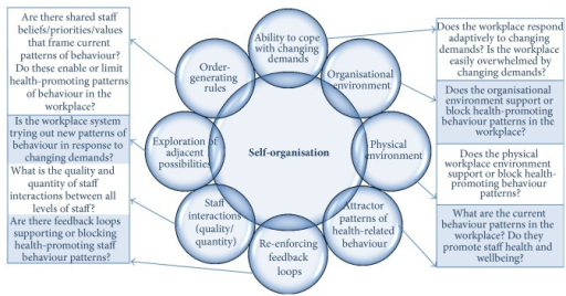 The Workplace of Well-being (WoW) framework developed from the principles of complex adaptive system theory guides exploration of eight interrelated workplace characteristics contributing to the ability of a workplace system to self-organise into more health-promoting patterns of behavior.