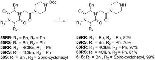 Boc-deprotection of 55–56 and 58S.Reagents and reaction conditions: i) TFA:DCM (1:1 v/v), 1h, r.t.