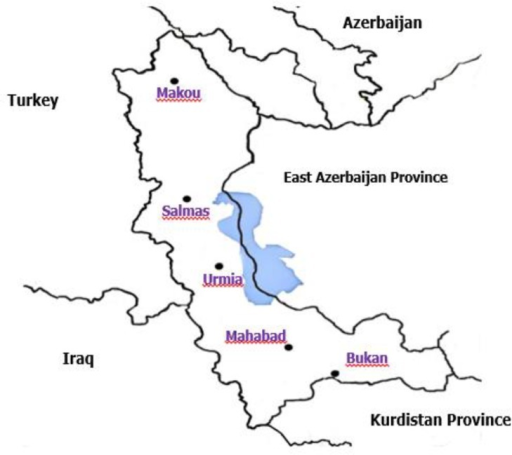 Location of the sites where Fasciola isolates were collected in West Azerbaijan Province, Iran