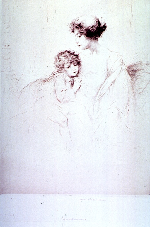 <p>A mother sitting with her child.</p>