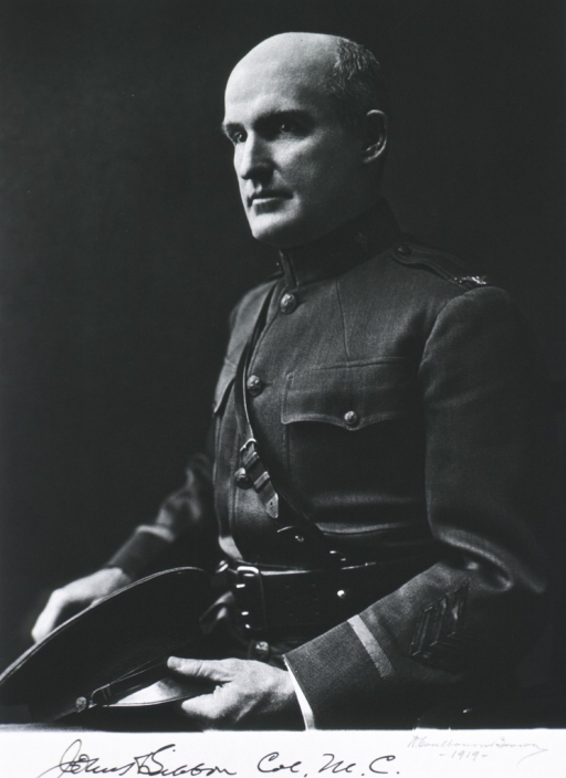 <p>Seated, half-length, left pose, wearing uniform, hat on lap.</p>