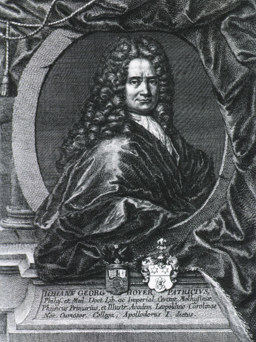<p>Posed to right, head turned front; medallion with draped curtain; coat-of-arms.</p>