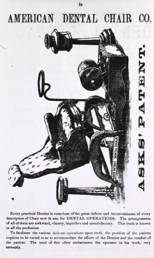 <p>Ask's patent dental chair, American Dental Chair Co.</p>