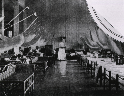 <p>A ward in the 2nd reserve supplementary hospital, headed by Maj. F.R. Keffer [sic] (Manila).</p>