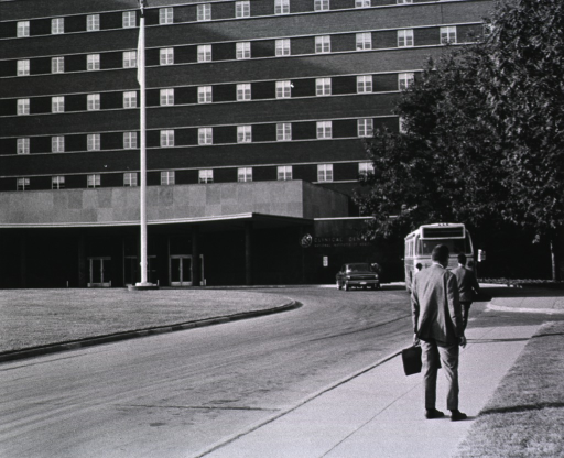 <p>Showing a D.C. Transit Bus at a stop by the front entrance to the Clinical Center.</p>