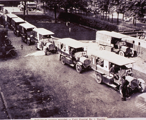 <p>A line of ambulances on the road to the hospital; other vehicles are parked on the roadsides; in the background, a man tends a flower garden.</p>